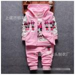 เสื้อตัวนอก+เสื้อตัวใน+กางเกง สีชมพู แพ็ค 4ชุด ไซส์ (เหมาะสำหรับ0-4ขวบ)