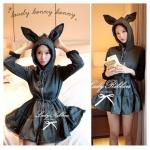 Bunny mini dress & outer มินิเดรสแขนยาวฮู้ดหูกระต่าย สีเทาเข้ม