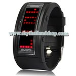 นาฬิกาแฟชั่น LED 70 LED Light Display, Multi LED Watch (Black)