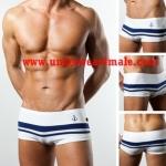 TOOT Men Underwear Flat Marine Trunk Navy (White)