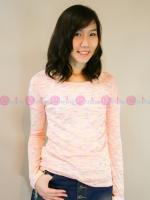 เสื้อแขนยาวผ้ายืด Style Nanda เนื้อบางสีชมพูแต่งลายสีๆเพิ่มลูกเล่นให้เสื้อน่ารักๆขึ้นอีกค่ะ