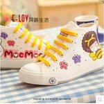 [Pre-oder] รองเท้าผ้าใบเพ้นท์ สไตล์เกาหลี รองเท้าเด็ก  ไซล์ 35-43