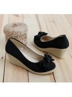 (พร้อมส่ง) รองเท้าส้นเตารีด สีดำ มีไซด์ 36