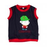 (มี S, M) เสื้อผ้าเด็ก แบบเสื้อแขนกุดใส่สบายๆ ปักเจ้าจ๋อจอมกวน กุ๊นแดง
