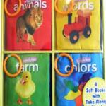 เซตหนังสือผ้ากันน้ำสอนศัพท์ภาษาอังกฤษ 4 เล่ม ยี่ห้อ softplay บรรจุในกล่องสวยงามน่ารัก ให้เป็นของขวัญก็เหมาะค่ะ 1. หมวด Colors สีต่าง ๆ 2. หมวด Animals สัตว์ 3. หมวด Farm สัตว์เลี้ยงในฟาร์ม 4. หมวด Word คำศัพท์อื่นที่ใช้ในชีวิตประจำวัน