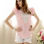 roses round neck blouse เสื้อแต่งดอกกุหลาบหวานน่ารัก (สีชมพู)