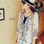 ++เดรสปักลายสวยผ้าซีฟองสีขาวลุคสาวหวานชิลๆ++