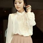palace retro thin hollow lace long-sleeved shirt