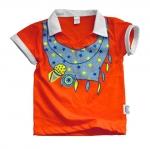 (มี S,M) เสื้อผ้าเด็ก แบบเสื้อโปโล ลายผ้าพันคอ ใส่แล้วเด่นเลย สีส้ม