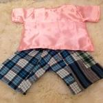 เสื้อไทยผ้ามัน สีโอรส กางเกงลายผ้าขาวม้า (สุ่มลาย) สำหรับเด็ก   1 - 2 ขวบ โจงกระเบนลายใดลายหนึ่ง เลือกไม่ได้  #ชุดเด็ก#ชุดเด็กไทยโบราณ#ชุดไทยเด็กเล็ก#ชุดเด็กใส่สงกรานต์#ชุดเด็กไทยเทศกาล