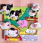 QL-026 สัตว์ในฟาร์ม  #ของเล่นไม้# ของเล่นไม้เด็กเล็ก# ของเล่นไม้ 1 ขวบขึ้นไป# ฝึกการหยิบจับ ความคิด ภาพเหมือน ในการเรียบเรียง รูปทรง