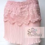 Korea skirt กระโปรงแฟชั่นเกาหลีอัดพลีทแต่งลูกไม้ สวยน่ารัก สีหวานสุดๆ