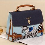 [พร้อมส่ง]กระเป๋า Axixi รหัส AX0015 กระเป๋าแฟชั่นเกาหลี (สีฟ้า)