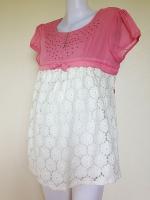 เสื้อคลุมท้อง  Lovely Mom สีชมพู/ขาว อกแต่งเพชรจิ๋วๆ ช่วงตัวเป็นผ้าลูกไม้