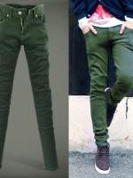 กางเกงยีนส์ชายสีเขียว