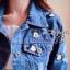เสื้อแจ๊คเก็ตแบบตัวสั้นแขนยาวมีปก เนื้อผ้ายีนส์ thumbnail 4
