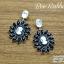 ต่างหูระย้า Vintage Earrings คริสตัลใส ประดับพลอยสีดำ thumbnail 1