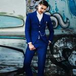 สูทชาย สีน้ำเงินสด+เสื้อกั๊ก Size M