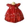 ชุดราตรีเด็กเล็กผ้าไหมแก้วสีแดงสำหรับเด็ก6-24 เดือน