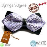Syringa Vulgaris - หูกระต่าย โบว์แหลม คาดหนัง สีม่วง ลายสี่เหลี่ยม จุดเงิน Premium Quality+++ (BT213) by WhiteMKT