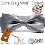 Cute Grey Wolf Tuxedo - หูกระต่ายเด็ก สีเทาเข้ม (9) เนื้อผ้าผิวมัน เรียบ Premium Quality+ (BT406) by WhiteMKT