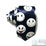 เนคไท ลายหน้ายิ้ม สีน้ำเงินอมม่วง หน้ากว้าง 2 นิ้ว ขายปลีก ขายส่ง รับผลิต และ นำเข้า  (NT108) by WhiteMKT