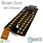 Brown Scot สายเอี้ยมเส้นเล็ก (Suspenders) ขนาดสาย กว้าง 2.2 ซม สำหรับคนสูงไม่เกิน 185 cm ลายสก๊อต สีน้้ำตาลดำ (CT062) by WhiteMKT