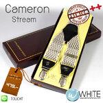 Cameron Stream - สายเอี้ยม (Suspenders) สายสีครีม ลายซิกแซก ดำ ครีม  ขนาดสาย กว้าง 3.5 เซนติเมตร (CT010) by WhiteMKT