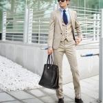 สูท,ชุดสูทเจ้าบ่าว,สูทผู้ชาย สีครีม+เสื้อกั๊ก คลิกเพื่อดู Size
