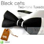 Black Cats Two-tone Tuxedo - หูกระต่ายสองสี สีดำ พื้นสีขาว เนื้อผ้าผิวมัน เรียบ งานไทย (BT121) by WhiteMKT