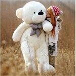 ตุ๊กตาหมีผูกโบว์สีขาว ขนาด 1.8 m.