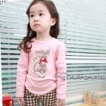 ชุดเสื้อน้องแมวสีชมพู +กางเกง ลายสก๊อต