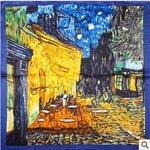 "#""Cafe Terrace at Night"" Van Gogh Style ผ้าพันคอผืนใหญ่ ผ้าไหมเทียม ขนาด 90*90 cm"