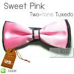 Sweet pink Two Tone - หูกระต่ายสองสี สีชมพู พื้นสีดำ เนื้อผ้าผิวมัน เรียบ (BT048) by WhiteMKT