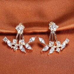 สวยใสสไตล์เกาหลีด้วย Olive Leaf Crystal Gold Earing ต่างหูสีทองรูปใบมะกอก