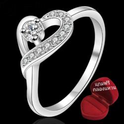 ฟรีกล่องแหวน R903 แแหวนเพชรCZ ตัวเรือนเคลือบเงิน 925 หัวแหวนรูปหัวใจ ขนาดแหวนเบอร์ 7