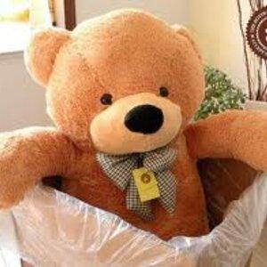 ตุ๊กตาหมีผูกโบว์สีน้ำตาลอ่อน ขนาด 1.2 m.