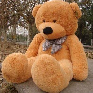 ตุ๊กตาหมีผูกโบว์สีน้ำตาลอ่อน ขนาด 1.6 m.