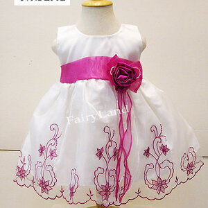 ชุดกระโปรงเด็กเล็กผ้าไหมแก้วสีขาว BL382