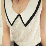 faa140 (พร้อมส่ง) เสื้อชีฟอง+ลูกไม้แฟชั่น สีขาว