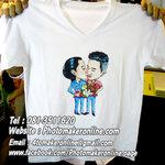 013-วาดการ์ตูนล้อเลียน 2 คน สกรีนเสื้อสี ไซด์ L