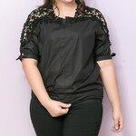 เสื้อผ้าไซส์ใหญ่แขนสามส่วนผ้าคอตตอนสีดำแต่งลูกไม้ช่วงแขน (XL,2XL,3XL,4XL,5XL)