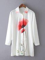 [พร้อมส่ง] T0123 เสื้อเชิ้ตแขนยาวพิมพ์ลายดอกไม้