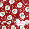 ผ้าคอตตอนไทย 100% 1/4 ม.(50x55ซม.) พื้นสีแดง ลายพุ่มดอก