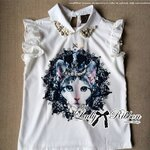 Lady Belle Cat Print with Pearl and Beads Embellished Shirt