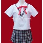 ชุดนักเรียนญี่ปุ่น แขนสั้น เดินคอวีลายสก๊อตสีดำ ผูกโบว์แดง