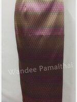 ผ้าถุงไหมสำเร็จรูป สีม่วงอมชมพูสลับทอง