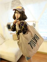 พร้อมส่ง ::FU0277:: กระเป๋าแฟชั่นใบใหญ่ สุดเท่ห์ สกรีนลาย TOUGH เหมือนแบบ สีเบจ