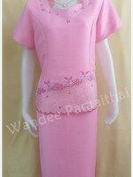 ชุดผ้าไหมญี่ปุ่น สำเร็จรูป คอห้าเหลี่ยมระบาย เสื้อ+กระโปรง สีชมพู เบอร์ 48