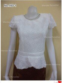 เสื้อลูกไม้ อัดผ้ากาว สีขาว ซิปหลัง เรียบสวย เบอร์36